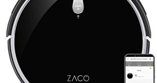 ZACO A8s Saugroboter mit Wischfunktion App Alexa Steuerung 72cm 310x165 - ZACO A8s Saugroboter mit Wischfunktion, App & Alexa Steuerung, 7,2cm flach, automatischer Staubsauger Roboter, 2in1 Wischen oder Staubsaugen, für Hartböden, Fallschutz, mit Ladestation